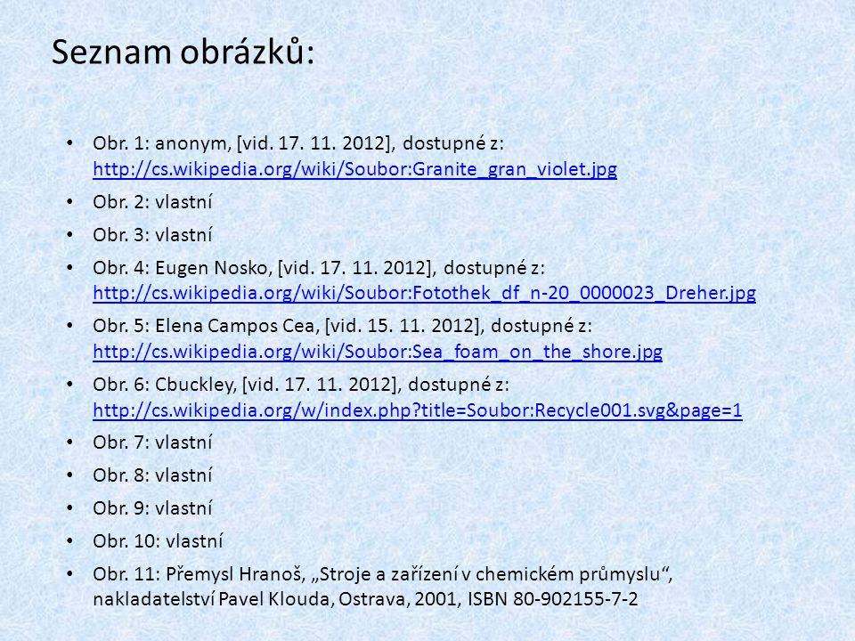 Seznam obrázků: Obr. 1: anonym, [vid. 17. 11. 2012], dostupné z: http://cs.wikipedia.org/wiki/Soubor:Granite_gran_violet.jpg.